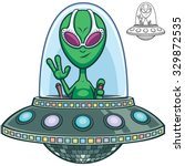 Cartoon Of Alien Flying Saucer.
