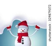 Snowman Holding Blank Snow...
