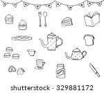 tea time drawing  doodle style  ... | Shutterstock .eps vector #329881172