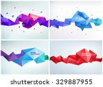 vector set of faceted 3d... | Shutterstock .eps vector #329887955