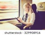 blond girl traveling in first...   Shutterstock . vector #329908916