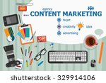 content marketing design and... | Shutterstock .eps vector #329914106