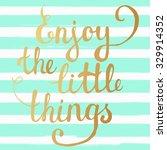enjoy the little things  hand... | Shutterstock .eps vector #329914352