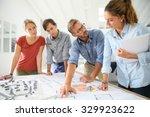 students with teacher working... | Shutterstock . vector #329923622
