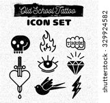old school tattoo icon set | Shutterstock .eps vector #329924582