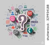 question mark and collage with... | Shutterstock .eps vector #329934188