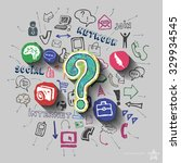 question mark and collage with... | Shutterstock .eps vector #329934545