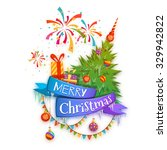 merry christmas banner with... | Shutterstock .eps vector #329942822
