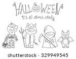 halloween vector set  kids in... | Shutterstock .eps vector #329949545