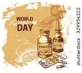 hand drawn world health day... | Shutterstock .eps vector #329956322