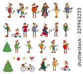 set of funny hipsters monkeys ... | Shutterstock .eps vector #329963255