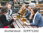group of friends enjoying a... | Shutterstock . vector #329971202