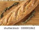 a close up of an artisan loaf... | Shutterstock . vector #330001862