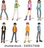 group of cartoon young people.... | Shutterstock .eps vector #330017348