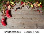 christmas wooden background | Shutterstock . vector #330017738