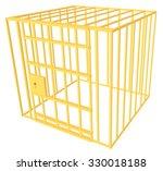 golden cage. vector 3d... | Shutterstock .eps vector #330018188