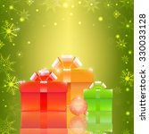 christmas background with gift... | Shutterstock .eps vector #330033128