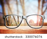 hipster glasses on a park... | Shutterstock . vector #330076076