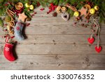 christmas wooden background | Shutterstock . vector #330076352