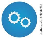 flat white gears icon on blue... | Shutterstock .eps vector #330089948