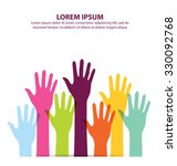 colorful hand up vector | Shutterstock .eps vector #330092768