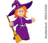 cartoon young witch | Shutterstock .eps vector #330113102