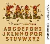 hand drawn fall alphabet made... | Shutterstock .eps vector #330113972