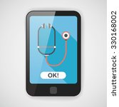 stethoscope flat icon with long ... | Shutterstock .eps vector #330168002