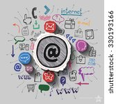 mail collage with web icons... | Shutterstock .eps vector #330193166