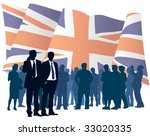 English businesspeople with national flag, conceptual business illustration. - stock vector