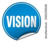 vision round blue sticker... | Shutterstock .eps vector #330250028