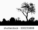 silhouette of tree  bush with... | Shutterstock . vector #330253808