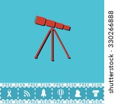 telescope. red flat symbol with ... | Shutterstock .eps vector #330266888