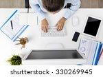 overhead view of businesswoman... | Shutterstock . vector #330269945