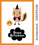 cute squirrel halloween card | Shutterstock .eps vector #330293108