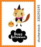 cute cat halloween card | Shutterstock .eps vector #330293195