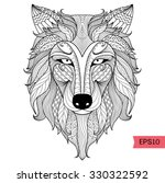 detail zentangle wolf for... | Shutterstock .eps vector #330322592