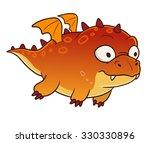 fat orange dragon with small...   Shutterstock . vector #330330896