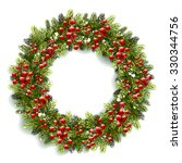 christmas wreath with red... | Shutterstock .eps vector #330344756