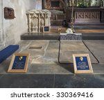Small photo of STRATFORD UPON AVON, UK - SEPTEMBER 26, 2015: Grave of William Shakespeare in Holy Trinity Church
