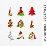 set of abstract christmas tree... | Shutterstock .eps vector #330374618
