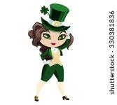 leprechaun girl in the cylinder.... | Shutterstock .eps vector #330381836