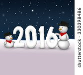 2 cute snowmen are looking to...   Shutterstock . vector #330398486