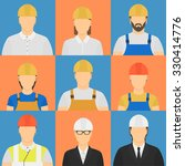nine workers avatars. five male ... | Shutterstock .eps vector #330414776