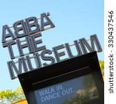 Small photo of STOCKHOLM, SWEDEN - May 21, 2015: Close-up of signboard the ABBA Museum in Stockholm