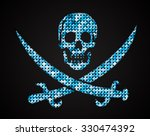 vector blue skull. jolly roger. ... | Shutterstock .eps vector #330474392