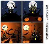 set of halloween greeting cards.... | Shutterstock . vector #330499535