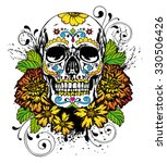 day of the dead skull with... | Shutterstock .eps vector #330506426