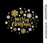 merry christmas gold glittering ... | Shutterstock .eps vector #330509906