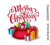 vector santa claus bag with... | Shutterstock .eps vector #330509942